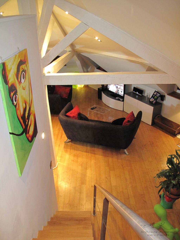 r novation d 39 un loft sous les toits adk architecture. Black Bedroom Furniture Sets. Home Design Ideas